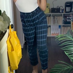 Navy plaid trousers
